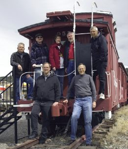 Authors Thomas Hillhouse, Rodney Holloway, Bonnie Koch, Keith Koch, Don Paulson, Jim Pettengill, and Karl Schaeffer on D&RGW Caboose 0575