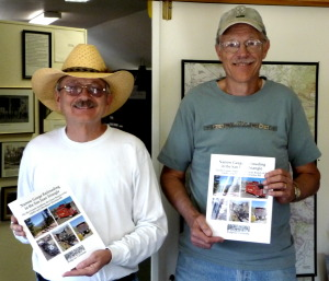 Jim Pettingill and Don Paulson of the Ridgway Railroad Museum hold copies of the new museum book, published by Mt. Sneffels Press